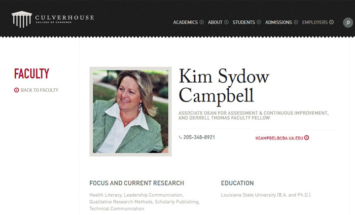 Kim Sydow Campbell - Alabama University